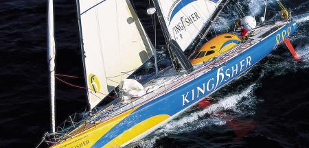 2001 Ellen MacArthur and her Open 60 Kingfisher finish second in the Vendee Globe